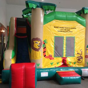 Jungle Combo Twist Bounce House with built in slide