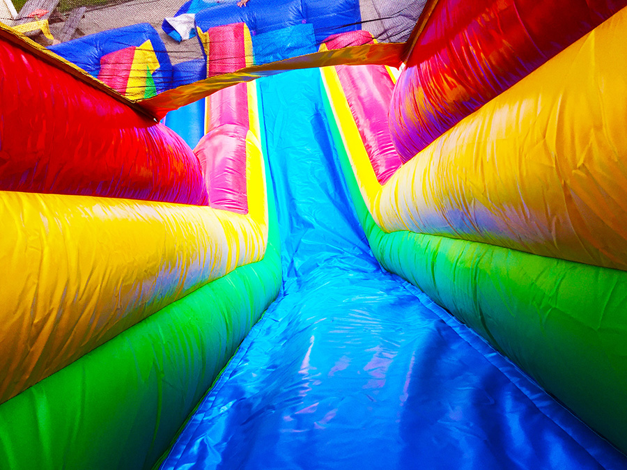 extra fast lanes on inflatable slide