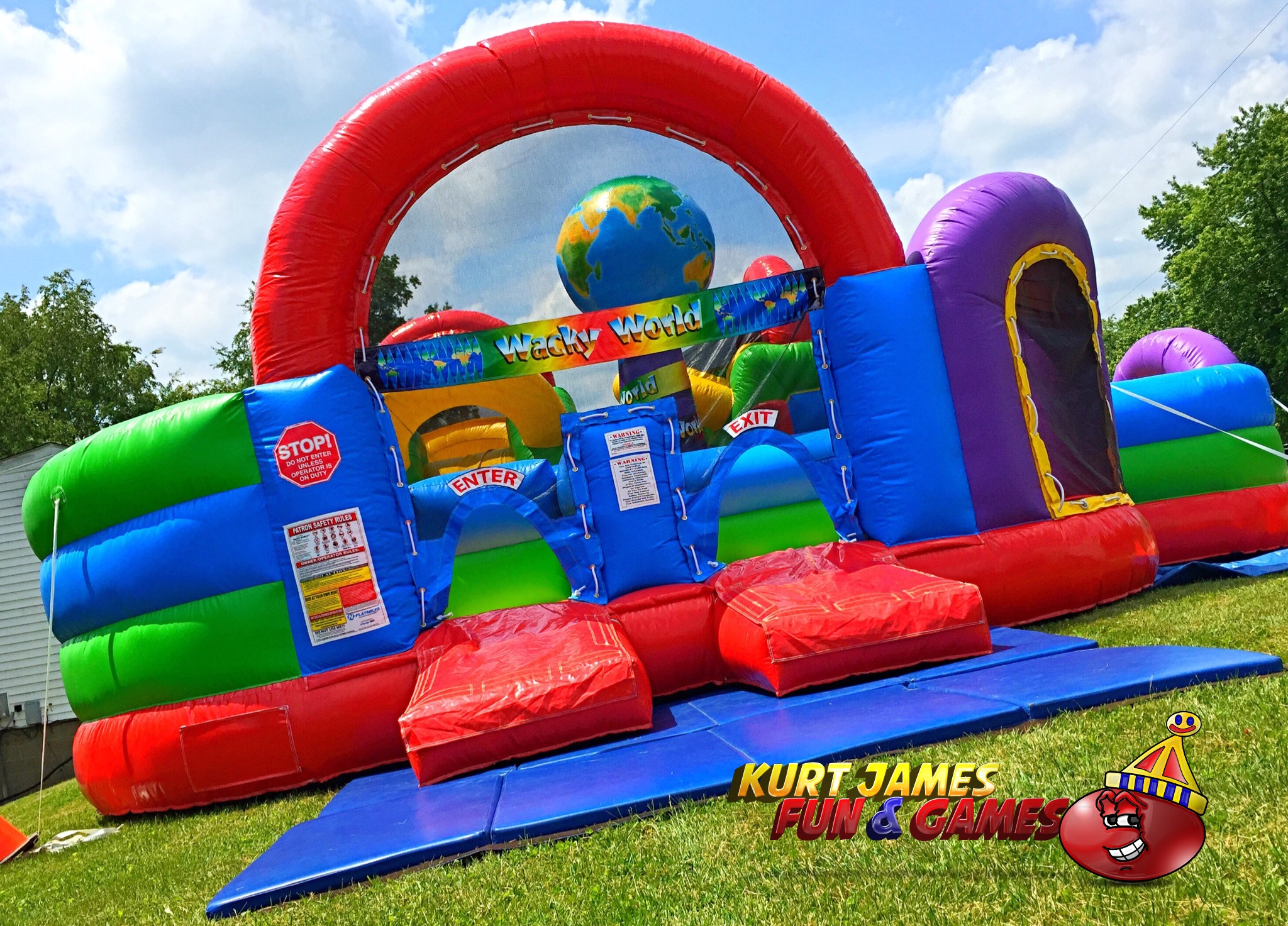 Incredible Wacky World Kids Combo Bounce House Obstacle Course Slide Interior Design Ideas Gentotryabchikinfo