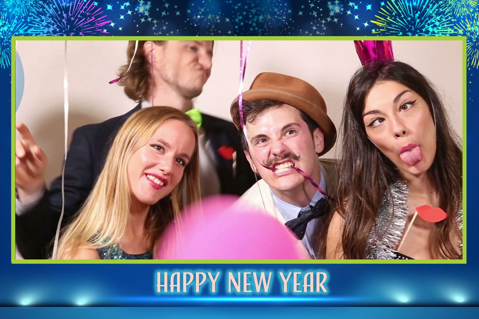 photo booth image with custom new years template